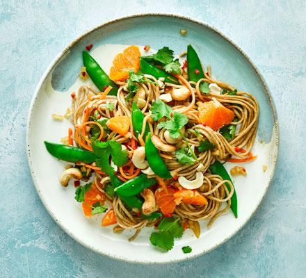 Noodle salad with sesame dressing