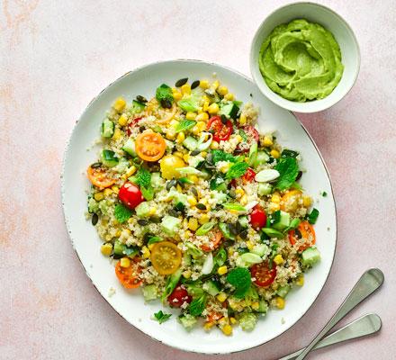 Quinoa salad with avocado mayo