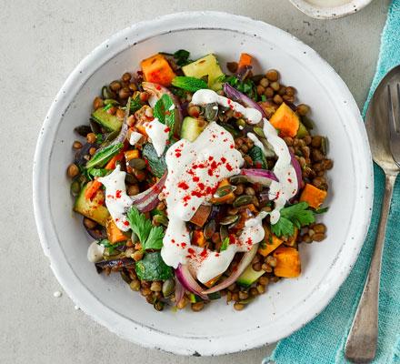 Lentil salad with tahini dressing