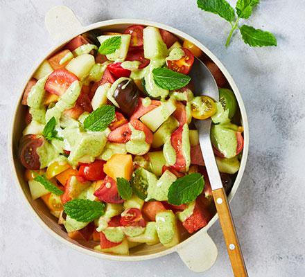 Salad of melon & tomatoes with mint & elderflower dressing