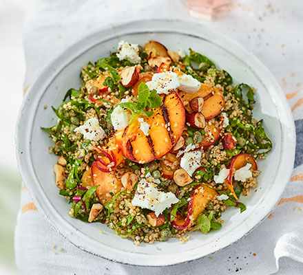 Quinoa, goat's cheese & peach salad