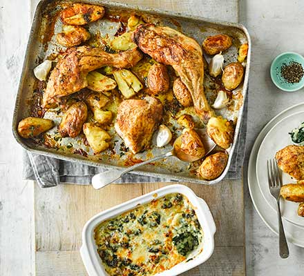 Roast chicken with squashed new potatoes & cheesy creamed spinach