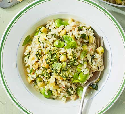 Courgette & broad bean risotto with basil pesto
