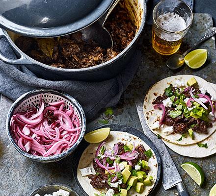 Barbacoa pulled-beef tacos