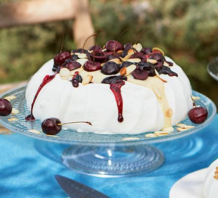 Cherry, almond & vanilla custard pavlova