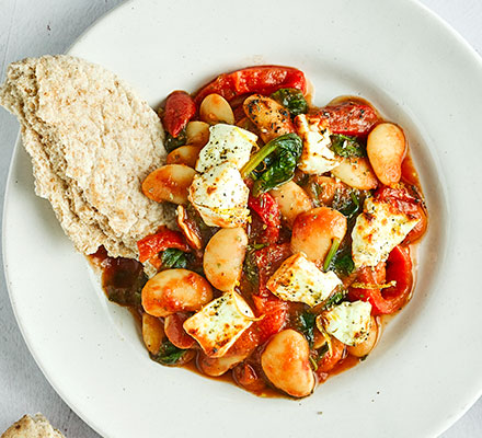 Crispy grilled feta with saucy butter beans