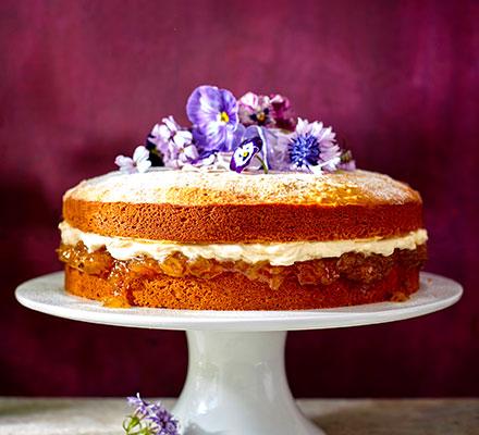 Gooseberry jam, muscat & mascarpone cake