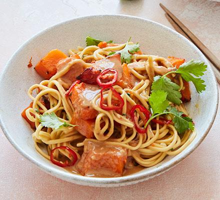 Roast squash with chilli & peanut noodles