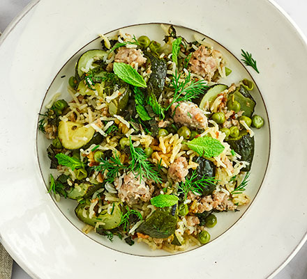 Easy sausage & courgette pilaf