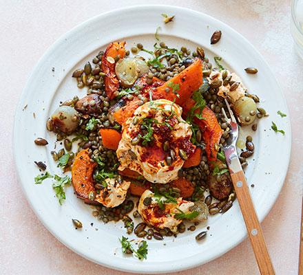 Slow-roast squash & garlic lentils with harissa yogurt