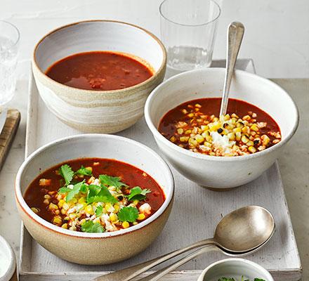 Smoky tomato, chipotle & charred corn soup