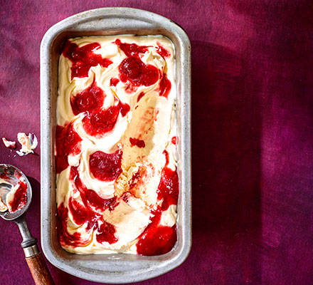 Strawberry jam ripple ice cream