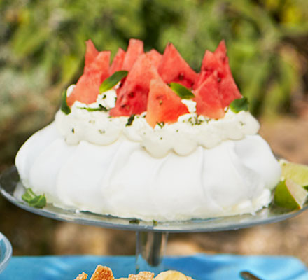 Watermelon, lime and mint sugar pavlova
