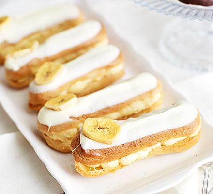 Banana custard eclairs