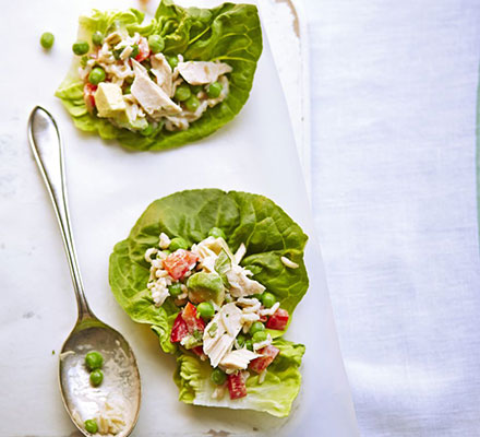 Tuna, avocado & pea salad in Baby Gem lettuce wraps