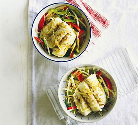 Citrus & ginger steamed fish with stir-fry veg