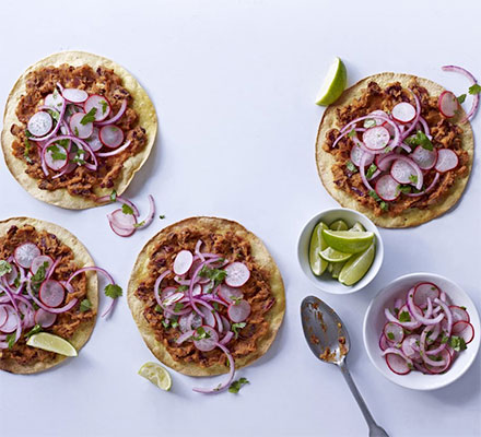 Spicy bean tostadas with pickled onions & radish salad