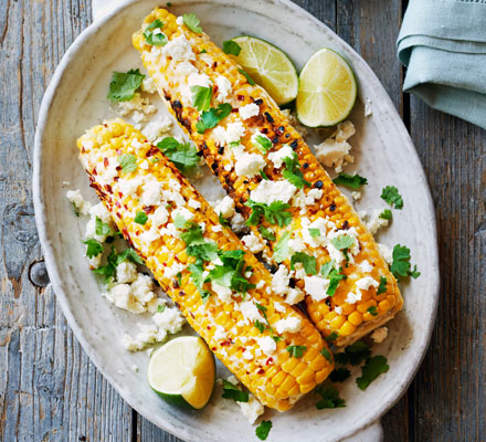 Grilled corn with chilli mayonnaise, coriander & feta