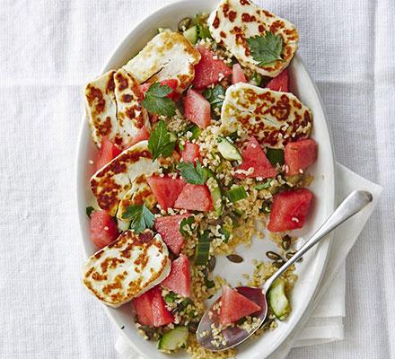 Halloumi & watermelon bulgur salad