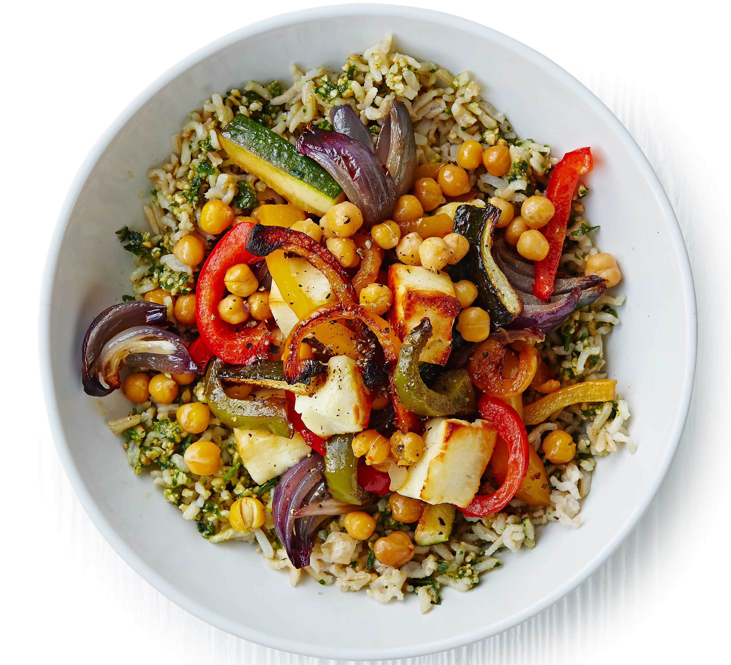 Herby rice with roasted veg, chickpeas & halloumi