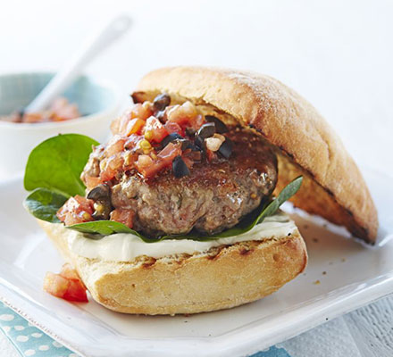 Italian pork burger with fresh tomato salsa