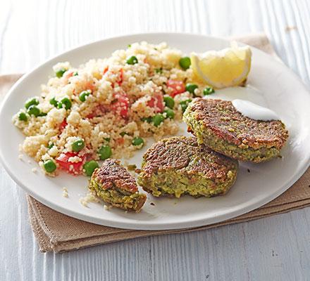 Pea falafels with minty couscous salad