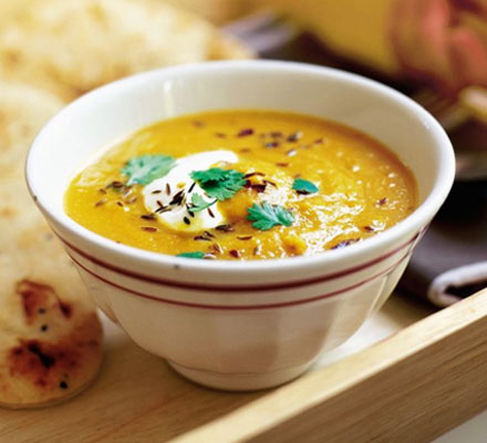 Spiced carrot & lentil soup
