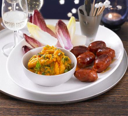 Sweet potato dip with chorizo & chicory dippers