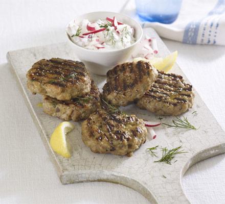 Greek pork patties with radish tzatziki