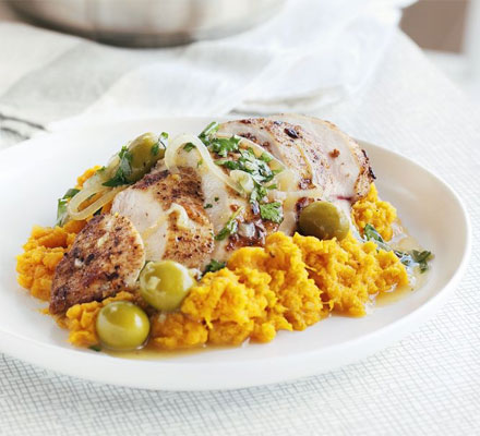 Moroccan Chicken With Sweet Potato Mash Bbc Good Food Middle East