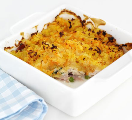 Chicken pie with a carrot thatch
