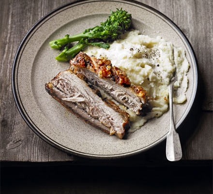 Slow-roast pork belly with celeriac & pear mash