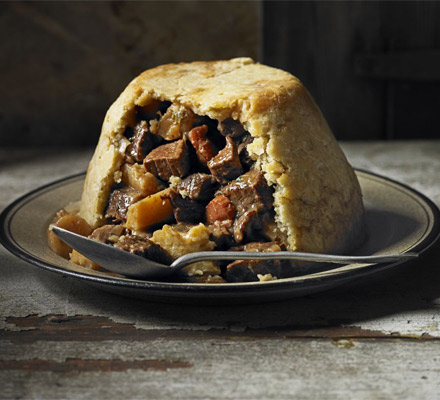 Beef, ale & parsnip pudding