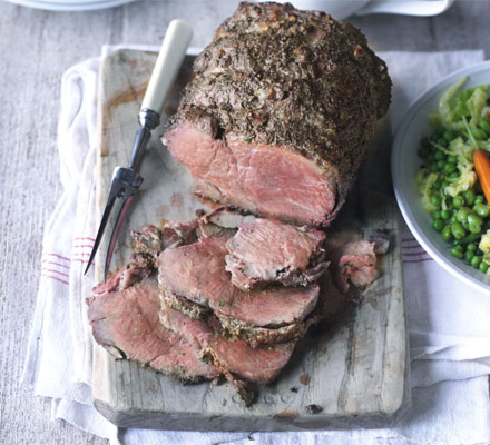 Roast beef with caramelised onion gravy