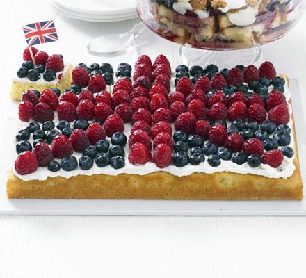 Fruity flag traybake