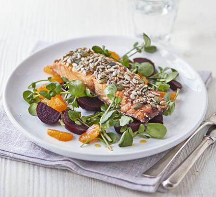 Sticky seeded salmon with satsuma salad