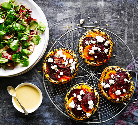 Spiced beetroot & feta tarts with tahini-dressed leaves