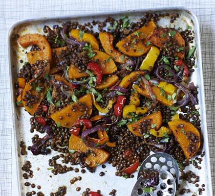 Spicy roast veg & lentils