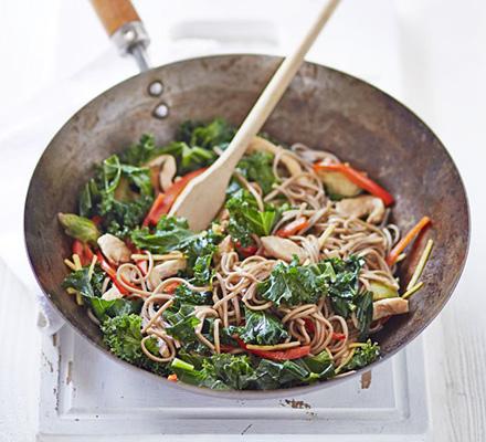 Chicken, kale & sprout stir-fry