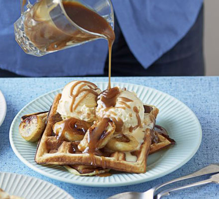 Waffles with banana & salted caramel sauce