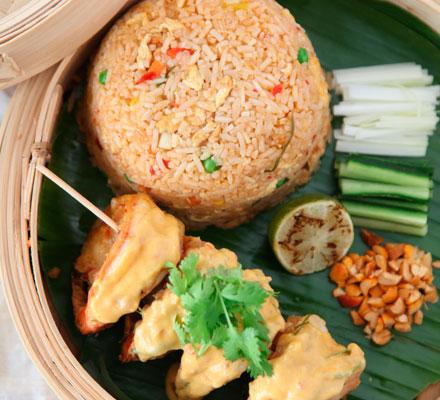 Nasi goreng with coconut prawns