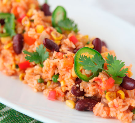 Mexican rice with kidney beans, corn, cilantro and jalapenos