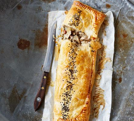 Pheasant & mushroom pastry puff slice