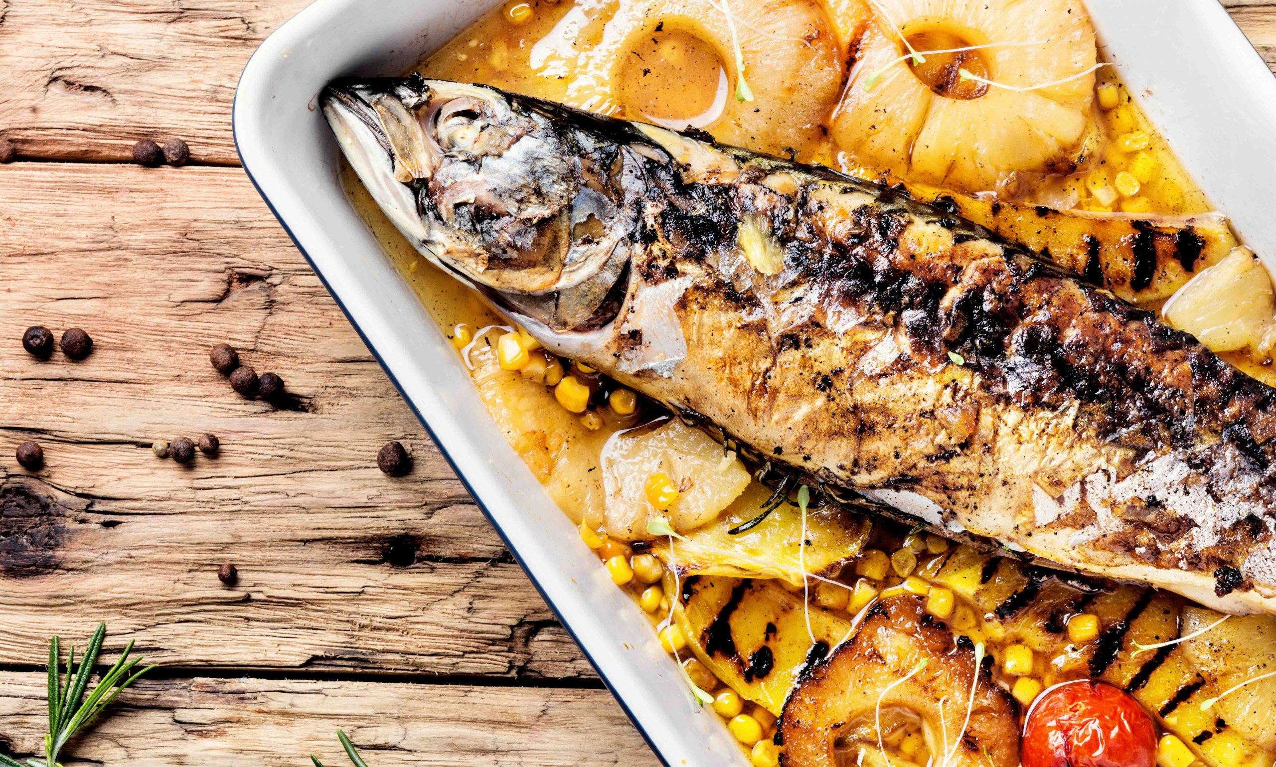 Jerk sea bass & pineapple salsa