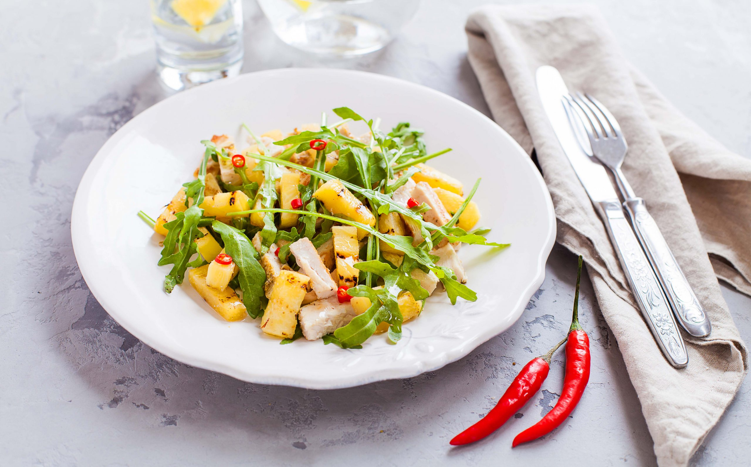 Griddled pineapple & chicken salad with nam jim dressing