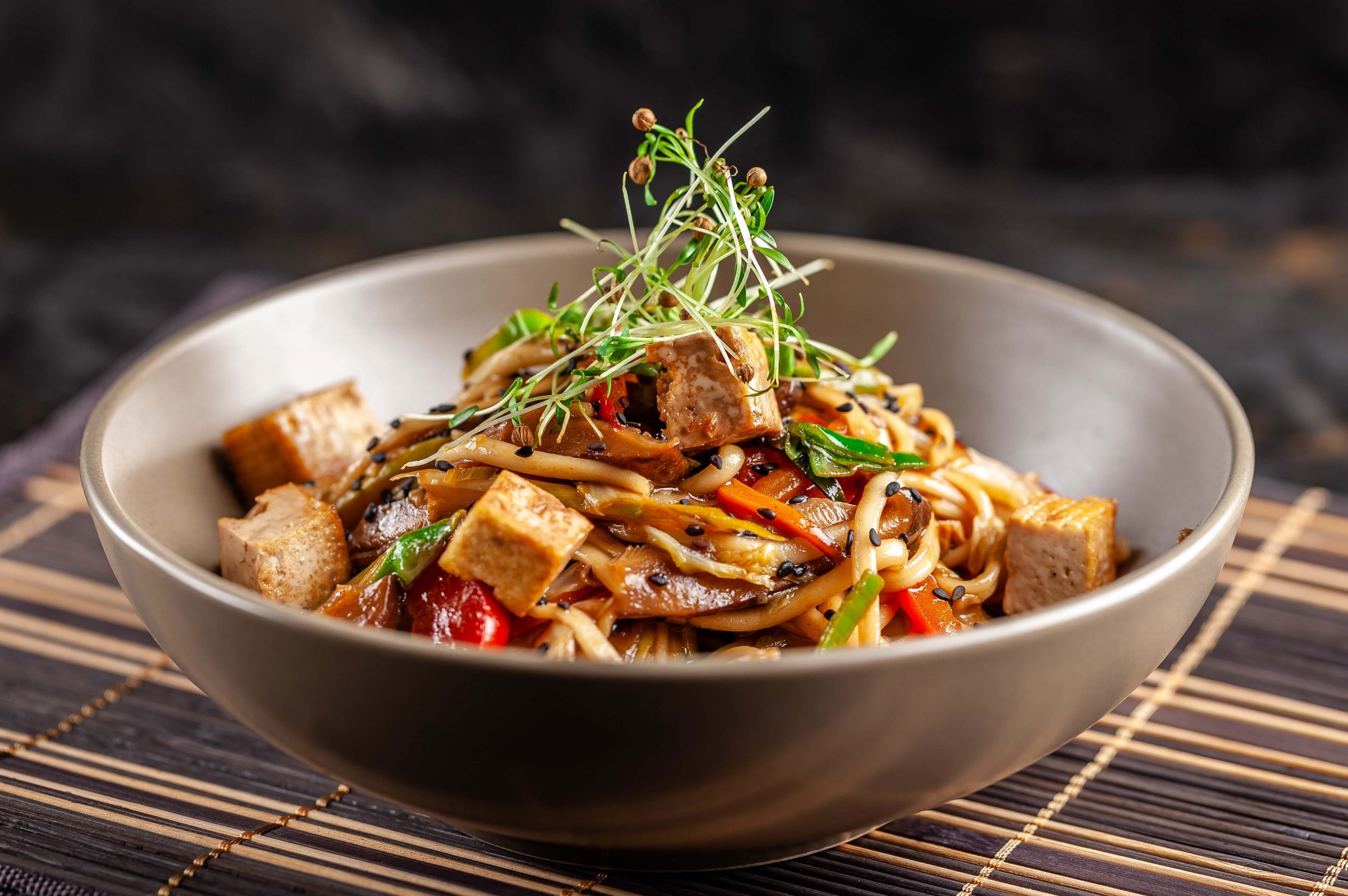 Sweet chilli tofu with pineapple stir-fried noodles