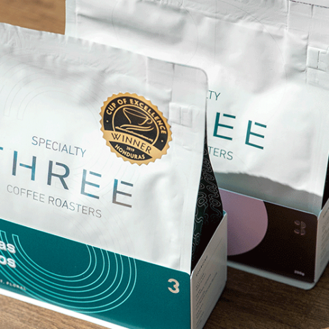 A GIFT VOUCHER FROM THREE COFFEE WORTH AED1,000
